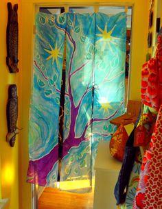 Hand Painted Silk Room Divider - Tree & Stars