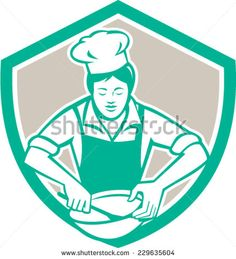 Illustration of a female chef with hat holding spatula and mixing bowl mixing viewed from the front set inside shield crest on isolated background done in retro style. Royalty Free Images, Royalty Free Stock Photos, Retro Vector, Retro Fashion, Retro Style, Female, Disney Characters, Retro Illustrations, Artwork