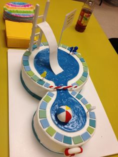 Pool Party Cake...I like the design but will have to dress this up.