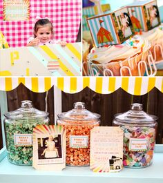 hosstess with the mostess coney island/circus style party. love the popcorn and candy idea in the apthocary jars.