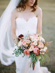 blush bridal bouquet idea; photo: Brumley & Wells Photography