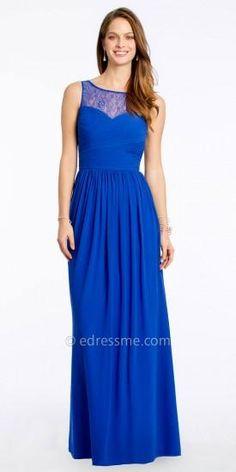 Chiffon Evening Dress With Lace Neckline By Camille La Vie  #edressme