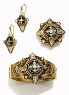 Victorian diamond, pearl, onyx and enamel jewelery suite.