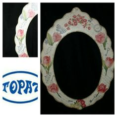 Espejo decorado con decoupage.  En Topaz manualidades Madrid te enseñan a hacerlo