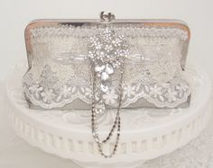 Silver Handbag  / Great Gatsby / Silver by Petite Vintage Bags