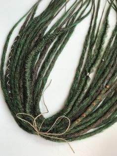 "Crochet double ended dreadlocks ""forest"" FULL set, single Ended dreads, thin locks, synthetiques dreadlocks, dreadlock extension by SovaDreads on Etsy Thin Dreads, Fake Dreads, Natural Dreads, Dreads Girl, Natural Hair Twists, Natural Hair Updo, Natural Hair Styles, Crochet Dreadlocks, Wool Dreads"