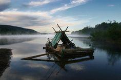 Timber rafting toursin Värmland, Sweden.