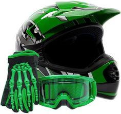 Youth Offroad Gear Combo Helmet Gloves Goggles DOT Motocross ATV Dirt Bike MX Motorcycle Green (Small): Everything you expect from TYPHOON HELMETS. Helmet, glove & goggle combo loaded with features including: br br Helmet: br Kids Atv, Toy Cars For Kids, Toys For Boys, Youth Motocross Gear, Motocross Helmets, Youth Atv, Cool New Gadgets, Car Gadgets, Triumph Motorcycles