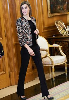 Queen Letizia of Spain attend an Audience to a representation of the Board of the Foundation for Help Against Drug Addiction (FAD) at Palacio de la Zarzuela on December 16, 2015 in Madrid. (The Queen wore Zara embroidered jacket and Boss Taru trousers)