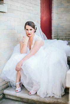 Birmingham, AL Vintage Wedding | EB Photography Elizabeth Bacon | MHD Beauty Hair & Makeup | Vintage | 1940s | 1920s | Red Lip | Bridal Updo | S Waves | Vintage Updo