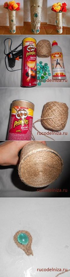 Master classes: needlework, cookery of the diary\' of VAZ from a twine and packing of Pringles // ALLA AVERINA Hobbies And Crafts, Diy Crafts To Sell, Easy Crafts, Easy Diy, Bottle Art, Bottle Crafts, Twine Crafts, Pringles Can, Recycled Crafts