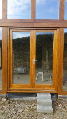 A set of External Oak doors coated with Sikkens Light Oak   Timber ...