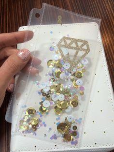 Planner Shaker Pocket, Personal Size Planner Shaker Dashboard, Diamond Diary Accessory, Glitter Pocket, Shaker Sequin Pocket, Diamonds