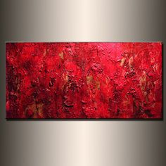 Original RED Textured ABSTRACT Painting por newwaveartgallery