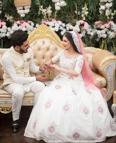 #pakistaniweddings #bride #groom #engagement Beautiful Pakistani Dresses, Pakistani Wedding Dresses, Pakistani Dress Design, Indian Dresses, Fancy Wedding Dresses, Designer Party Wear Dresses, Wedding Outfits, Velvet Dress Designs, Beautiful Dress Designs