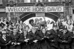 British pop singer David Bowie arrives home at Victoria Station, London during his Isolar tour.  2nd May 1976.