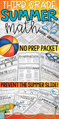 Prevent the summer slide with this 3rd grade Math Summer Skills Review Packet! NO PREP required! All standards are included.