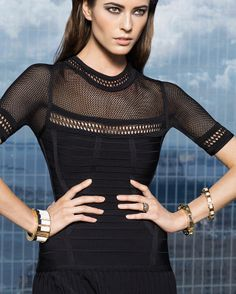 PREORDER Herve Leger Mesh Detail Short Sleeve Flare Dress: Black-Holiday Look 1-HOLIDAY LOOK BOOK-What To Wear-Categories- IntermixOnline.com