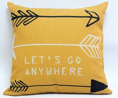 Nordic Let's Go Anywhere Tribal Arrow Boho Indie Pillow Cover Scandanavian Throw Pillow Cushion Cover Linen Navajo Aztec