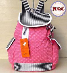 kids children girls canvas printing carton striped school bags sport backpacks K8