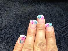 Hawaiian Flower Nail Art by Tiffany Holtman @ Tiffany's Hair Creations Ltd.