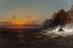 Artwork by James Hamilton On the Coast of Wales, Sunset, Made of Oil on canvas Hamilton, Sea World, Moonlight, Oil On Canvas, Sunrise, Coast, 1, Waves, Mountains