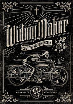 ☆ Widow Maker Motorcycles :: Artist Aaron von Freter ☆ Skull Reaper psychedelic hippie  Art Poster Print Postcard ☮~ღ~*~*✿⊱  レ o √ 乇 !! ~