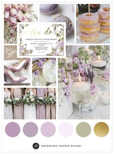 Lilac and Gold Wedding Theme Ideas for Any Season   Wedding color palette   Wedding Paper Divas   Affiliate link  