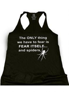 """Women's Black """"Fear Spiders"""" Racerback Tank by Glitz Apparel"""