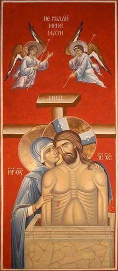 Плач Пресвете Богомајке Religious Images, Religious Icons, Religious Art, Anima Christi, Crucifixion Of Jesus, Life Of Christ, Best Icons, Byzantine Art, Orthodox Icons