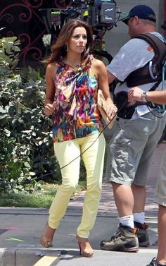 Eva Longoria wearing Christian Louboutin Hyper Prive Peep-Toe Pumps Eva Longoria films scenes for Desperate Housewives in L.A July 12 2011