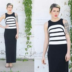 80s Black and White Formal Maxi Gown NWT Susan Roselli for Vijack. Colorblock. 92% Polyester, 8% Lycra. Deadstock- never worn. Vintage Dresses Maxi