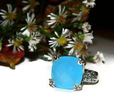 Chalcedony Ring Genuine Stone Big Stone by JewelrybyDecember67