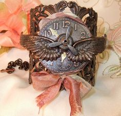 Steampunk Rusty Black Ox Filigree Winged Clock by MockiDesigns, $79.00