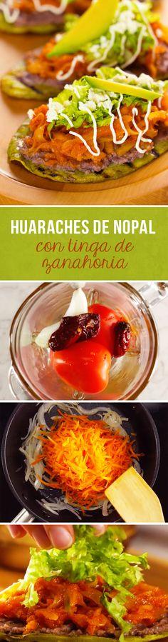 Huaraches de Nopal con Tinga de Zanahoria
