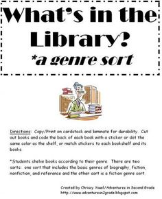 What's in the Library?  A Genre Sort from Everyday Adventures on TeachersNotebook.com -  (5 pages)