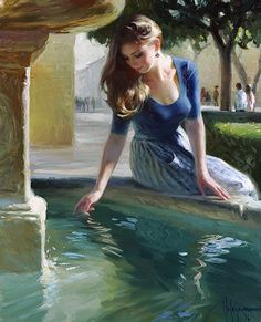 Volegov, Vladimir (b,1957)- Woman Playing in Fountain