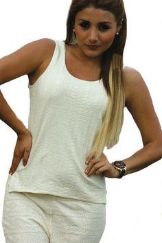 Natur weißes Rundhals Träger Damen #Top Shirt #Sommershirt 100% #ökologische strukturierte Pima #Baumwolle Biobaumwolle