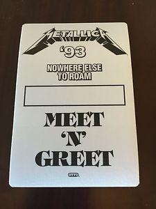 Metallica - 1993 - Nowhere Else to Roam - Meet & Greet Pass