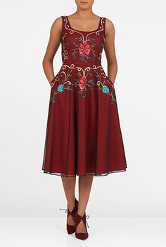 I <3 this Floral embellished tulle midi dress from eShakti