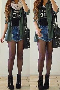 Fall outfit. High-waisted shorts, infinity scarf, black top, green shirt, tights and ankle boots.