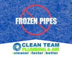 Winterize your water pipes and fix leaks to prevent frozen pipes. Protect your pipes with Clean Team Plumbing #frozen #pipes
