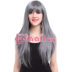 Women Fashion 70cm Long Gray Straight Synthetic Wigs Heat Resistant Fiber Hairs Neat Bang Cosplay Wigs Pruik