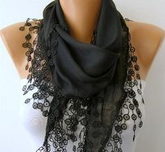 Black cotton cowl scarf with lace edge, love the detail