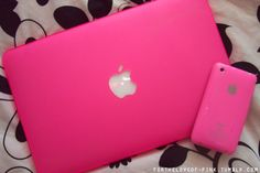 Pink laptop and phone