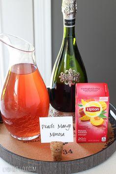 Peach Mango Tea Mimosas - so refreshing and delicious! #ad