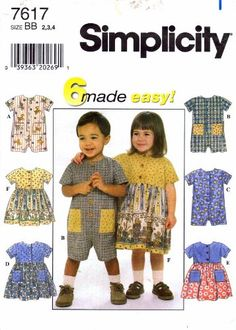 Simplicity 7617   c.1997  Toddler Girls Romper & Dress Size (2- 4)