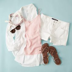 Look spring chic in all white with a pop of pink!  Spring Fever, All White, Hollister, Ruffle Blouse, Denim, Chic, My Style, Pink, Clothes