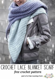 Crochet this easy winter lace blanket scarf from my 20 best crochet scarves free pattern roundup!