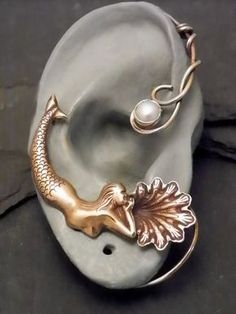 Golden Ocean Pearl Ear Wrap MERMAID Brass by SunnySkiesStudio, $48.95